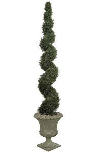 10' Plastic Outdoor Cypress Spiral Topiary - 4,294 Green Leaves - Bare Stem