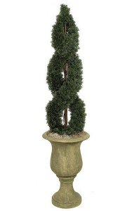 4' Plastic Outdoors Double Spiral Cypress Topiary - 1,742 Green Leaves - Weighted Base