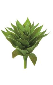 "13"" Plastic Agave Plant - 25 Green Leaves - 13"" Width - Bare Stem"
