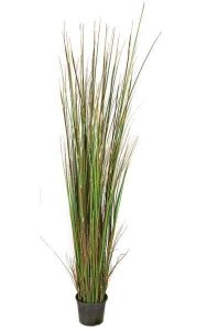 6' PVC Grass Plant - 609 Green/Brown Leaves - Weighted Base