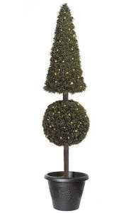 "5' Pine Pyramid/Ball Topiary - 200 Clear Lights - 14"" Width - Weighted Base"