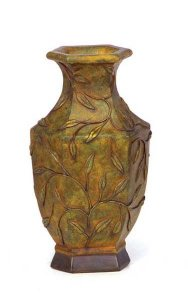 "11.5"" Resin Laurel Leaf Vase - 1"" x 2"" Opening - Rust"