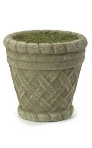 "6"" Round Basket Weave Foam Filled Pot with Moss - Stone"