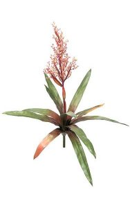 "25"" Bromeliad - Natural Touch - 12 Leaves - 1 Flower - 24"" Width - Red/Yellow"