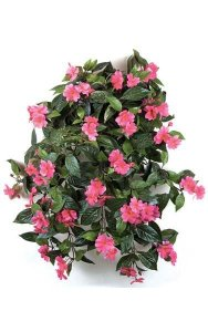 "27"" Impatiens Bush - 417 Leaves - 62 Flowers - 5 Buds - Cerise"