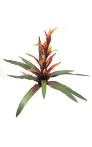 "21"" Bromeliad - Natural Touch - 12 Leaves - 1 Flower - 22"" Width - Red/Yellow"
