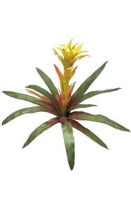 "21"" Bromeliad - Natural Touch - 13 Leaves - 1 Flower - Orange/Yellow"