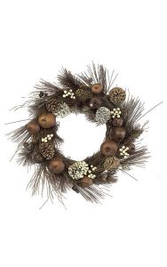"21"" PVC Mixed Winter Wreath - Brown/Cream"