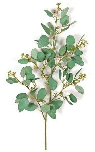 "26"" Seeded Eucalyptus Branch - 78 Leaves - 55 Buds - Green/Grey"