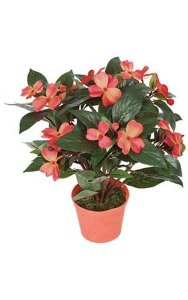 "14"" Impatiens Bush - 136 Leaves - 16 Flowers - 3 Buds - Coral - Plastic Pot"