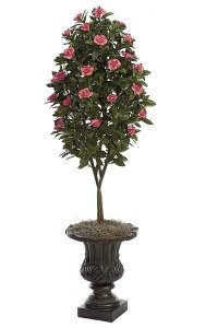 4.5' Gardenia Artificial Topiary - Natural Trunk - 1,209 Leaves - 78 Flowers - Beauty - Weighted Base