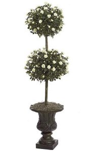 4' Mini Rose Artificial Topiary - Double Ball - Natural Trunk - 3,204 Leaves - 486 White/Green Flowers - Weighted Base