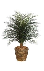 3' Artificial Outdoor Single Palm Tree - Synthetic Trunk - 36 Green Fronds - Bare Trunk