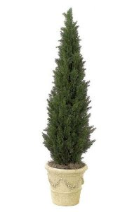 "6' Polyblend Cedar Pine Tree 16"" Wide - Synthetic Trunk - 2,492 Green Leaves - Weighted Base"