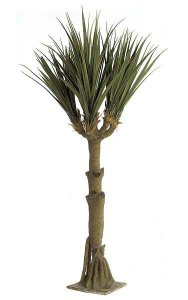 11' Yucca Tree - Fiberglass Trunk - 6 Heads - 127 Leaves - Green/Brown