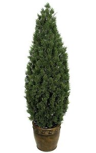 "6' Plastic Cedar Tree - 3,416 Green Leaves - 20"" Width - Weighted Base"
