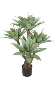 "AUV-102080 4 Foot Plastic Agave Tree - Synthetic Trunks - 4 Green Heads - 43"" Width - Weighted Base - Outdoor UV Protection"
