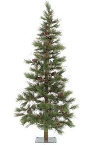 "7' Needle Pine Christmas Tree with Grape Vine - Natural Trunk - 33 Pine Cones - 403 Green Tips - 48"" Width - Metal Stand"