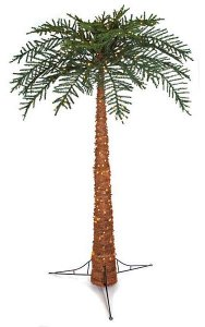 8' Royal Palm Tree - 500 Warm White 5mm LED Lights - Burlap Cloth Included