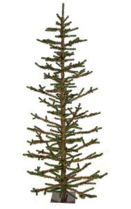 "7' PVC Charlie Brown Tree - 351 Tips - Green/Brown - 40"" Width - Black Metal Base"