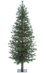 "7' Bristle Pine Christmas Tree - Natural Trunk - 459 Green Tips - 36"" Width - Metal Stand"
