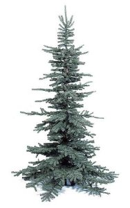 "8' PVC Frasier Pine Christmas Tree - Natural Trunk - 1,770 Tips - Blue/Green - 60"" Width - Metal Stand"