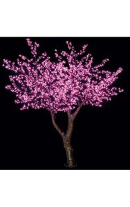 8' Cherry Blossom Christmas Tree - 2,016 Pink 5mm LED Lights - Brown Trunk/Branches