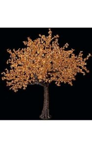 8' Maple Leaf Christmas Tree - 2,120 Warm White 5mm LED Lights - Brown Trunk/Branches