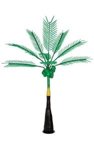 12.5' Coconut Palm Tree with Coconuts - Synthetic Brown Trunk - 2,304 Green LED Lights