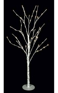5' Birch Tree - 72 White 5mm LED Lights - Adapter Included - Metal Base