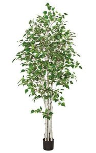 Earthflora Artificial Trees Topiary Bonsai 7 White Birch Tree Synthetic Multi Trunks