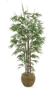 7' Bamboo Palm - 10 Synthetic Black Canes - 1,735 Leaves - Green - Weighted Base