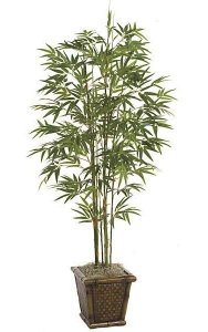 5' Bamboo Palm - 7 Synthetic Canes - 859 Leaves - Green - Weighted Base