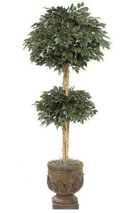 6' Artificial Sakaki Double Ball Topiary - Natural Trunks - 3,172 Leaves - Green - Weighted Base