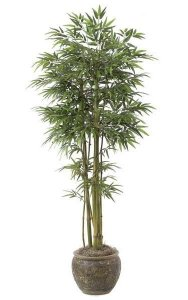 7' Bamboo Tree - Natural Green/Brown Canes - 2 Thin/3 Wide - 1,980 Leaves - Weighted Base