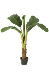 3' Banana Palm - Synthetic Trunk - 4 Fronds - 1 Bud - Green - Weighted Base