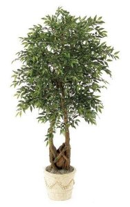 6.5' Smilax Tree - Natural Trunks - 3,367 Leaves - Green - Weighted Base