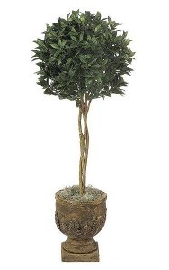 4.5' Artificial Bay Leaf Ball Topiary - Natural Trunks - 1,332 Leaves - Green - Weighted Base
