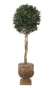 5.5' Artificial Bay Leaf Ball Topiary - Natural Trunks - 1,628 Leaves - Green - Weighted Base