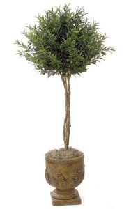 4.5' Artificial Olive Ball Topiary - Natural Trunks - 1,536 Leaves - Green - Weighted Base