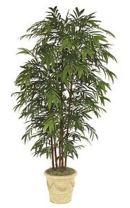 W-2662 8' Bamboo Palm - 6 Synthetic Canes - 1,828 Leaves - Green - Weighted Base