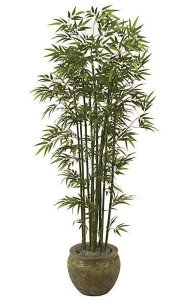 7' Bamboo Palm - Natural Green Canes - 1,440 Leaves - Weighted Base
