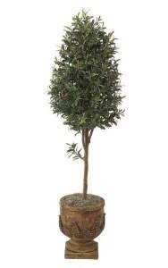 6' Artificial Olive Tree - Natural Trunk - 2,392 Leaves - 66 Green/Brown Olives - Weighted Base