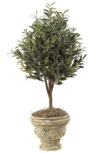 "36"" Artificial Olive Tree - Natural Trunk - 1,040 Leaves - Weighted Base - CUSTOM-MADE"