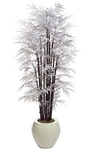 6.5' White Bamboo Palm - 15 Natural Black Canes - 1,520 White Leaves - Weighted Base