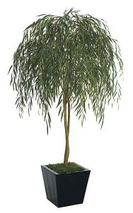 "7' Willow Tree - Natural Trunk - 2,470 Green Leaves - 50"" Width - Weighted Base"