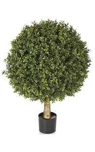 Wide Artificial Boxwood Ball Bush Potted Outdoor Rated