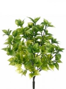 "EF-070   Uv Outdoor 15"" Plastic Bay Leaf Bush x8  Green(Price is for a pack of 12 pc)"