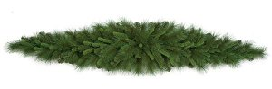 "6' Mixed Pine Mantel Piece - 135 Tips - 15"" Width at Center - Mixed Green"
