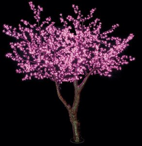 8' Cherry Blossom Christmas Tree - 6,048 Multi - Color 3mm LED Lights